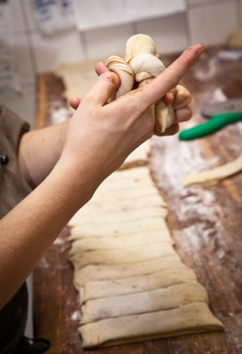 Twisting the dough into shape